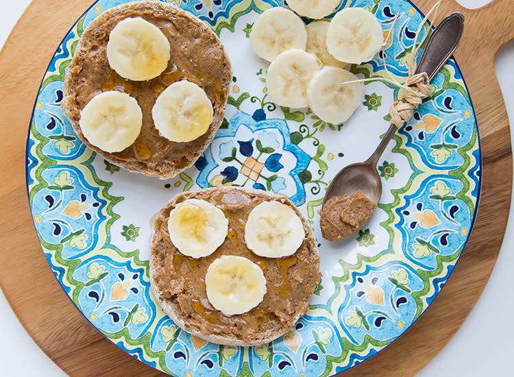 kids-lunches-english-muffin-almond-butter-bananas-honey