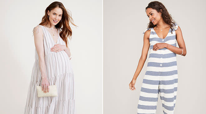 Hatch's maternity clothing sale, pictured erika dress and yuri jumpsuit