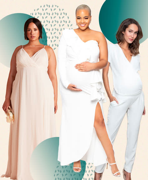 Three pregnant women wearing maternity wedding attire against a collage background.