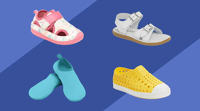 Collage of baby and toddler water shoes on purple background.