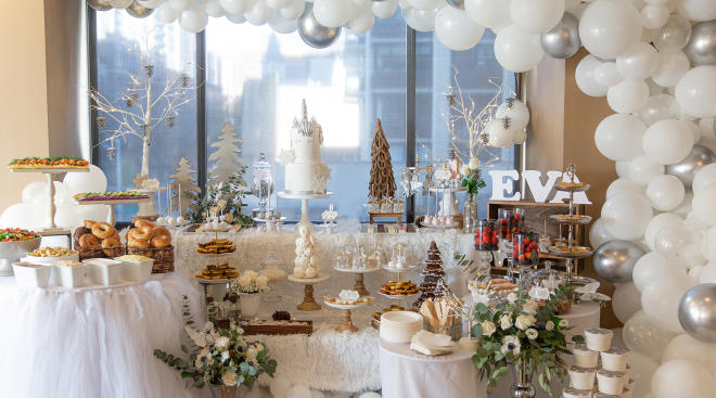 winter baby shower theme decoration table with balloons