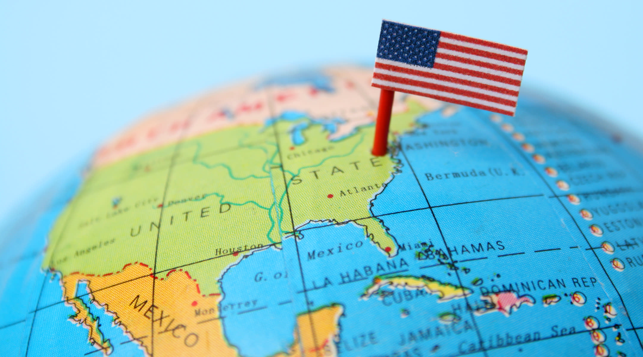 globe positioned united states flag placed near Carolinas