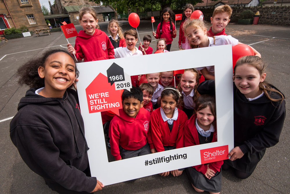 Primary school children campaigning for Shelter Scotland