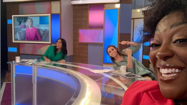Judi and Loose Women Christine and Stacey pose for a socially distanced selfie on set