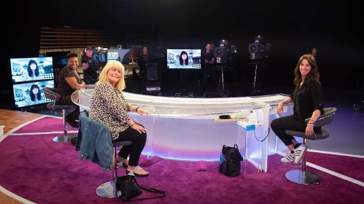 Coleen Nolan, Brenda Edwards, Linda Robson and Andrea McLean rehearse for Loose Women's new shows