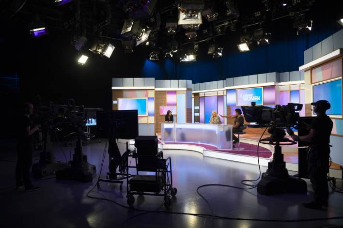 Andrea McLean, Linda Robson and Brenda Edwards rehearse the new socially distanced set up for the new Loose Women shows