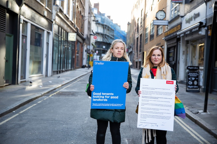 Two campaigners with our letter to OpenRent