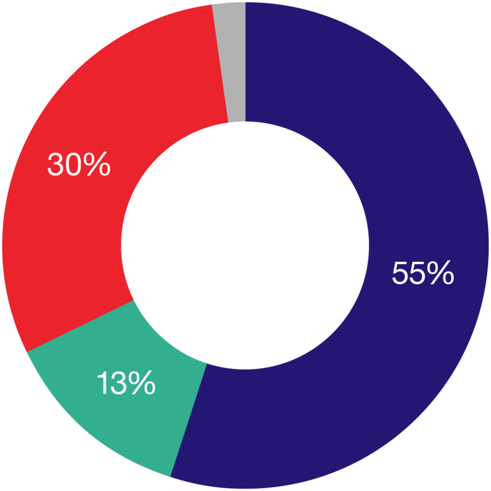 Pie chart shows how we raise money:  55% from donations and legacies 13% from Shelter shops 30% from funded advice and support 2% from training and publications