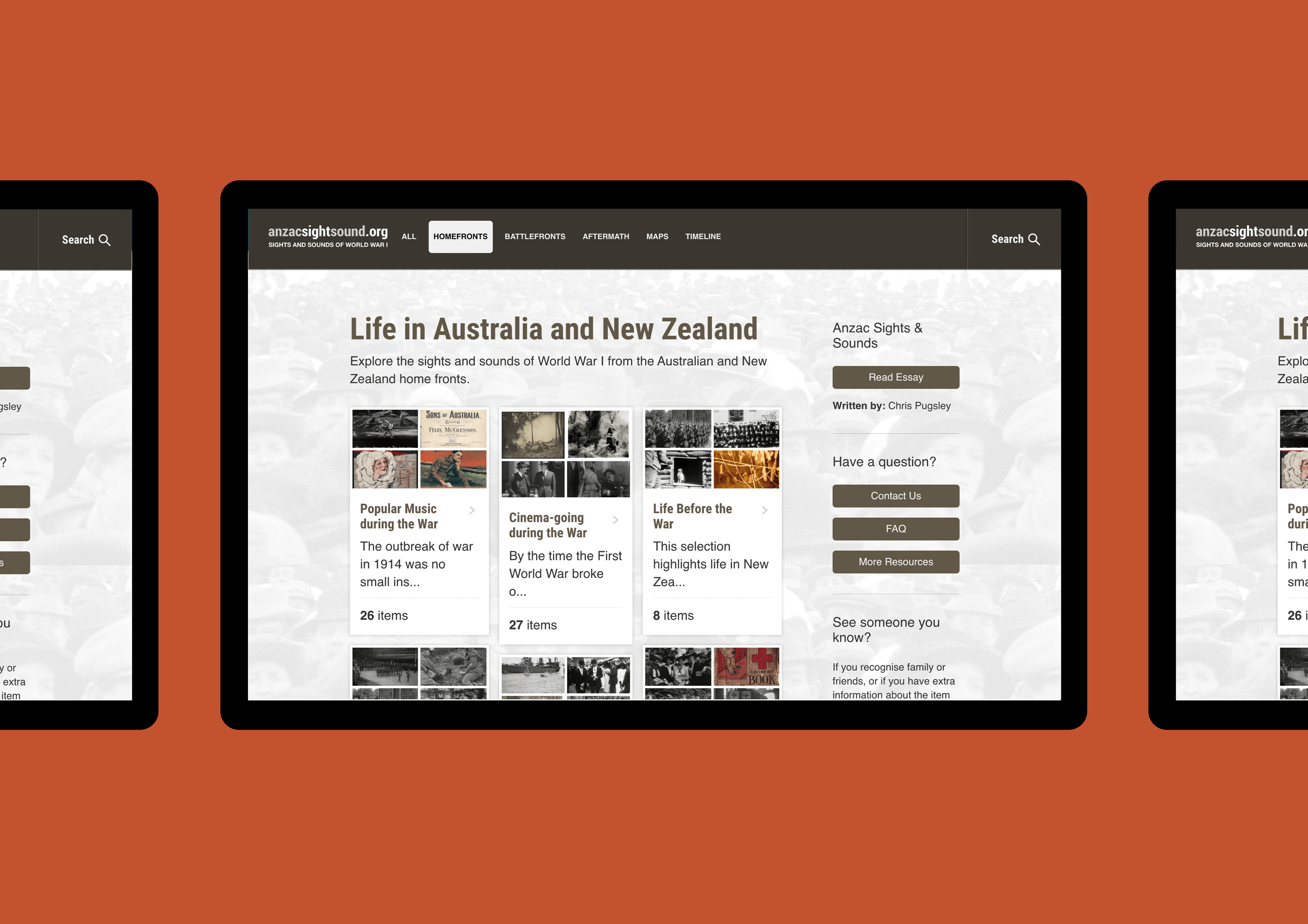 Mockup showing the Homefronts section of the Anzac Sights and Sounds website on a tablet.