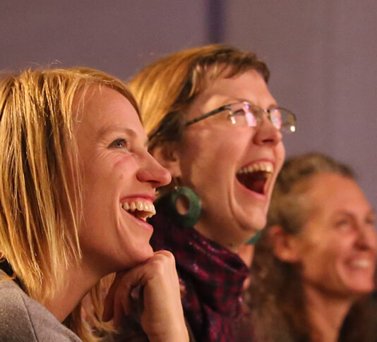An audience laughing, Nelson Fringe Festival 2017. Photography by Doug Brooks.