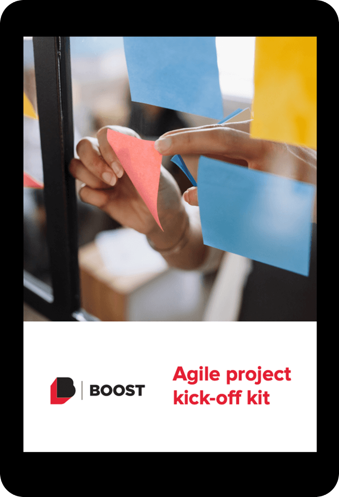 Mockup showing the Agile project kick-off kit on a tablet.