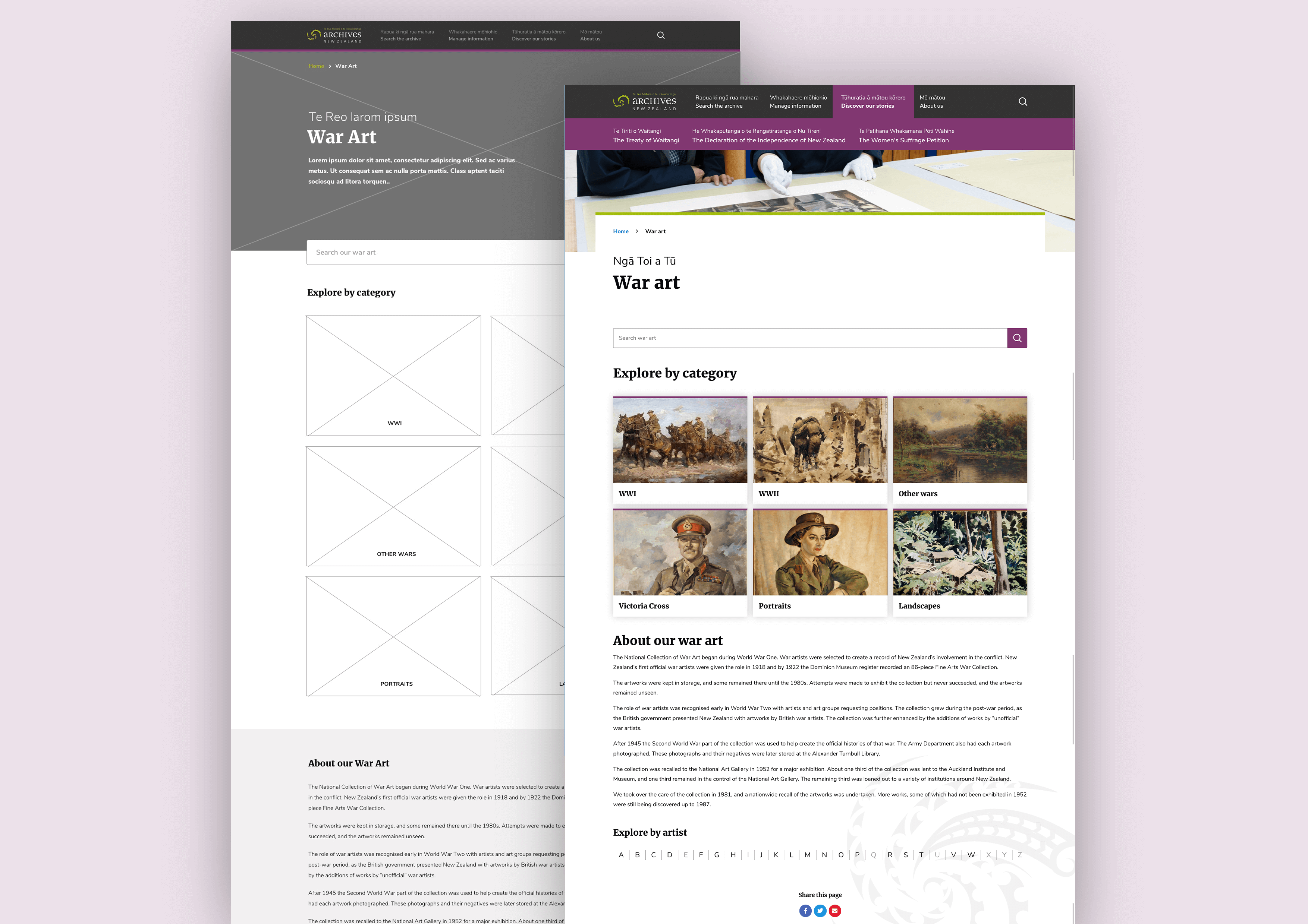 An early low-fidelity greyscale design for the War Art section of the new Archives website, overlaid by the high-fidelity full-colour design.