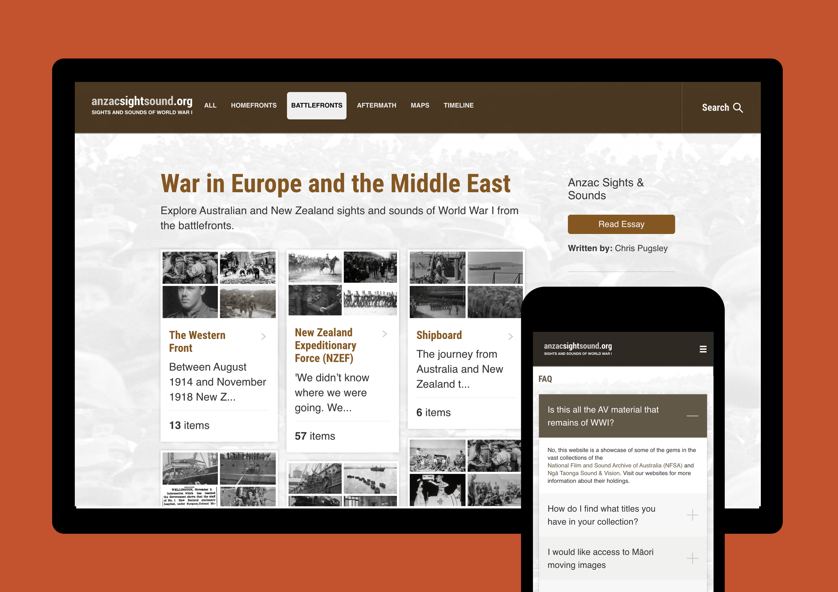 Mockup showing the results of our Anzac Sights and Sounds website design and development work, on desktop and mobile devices.