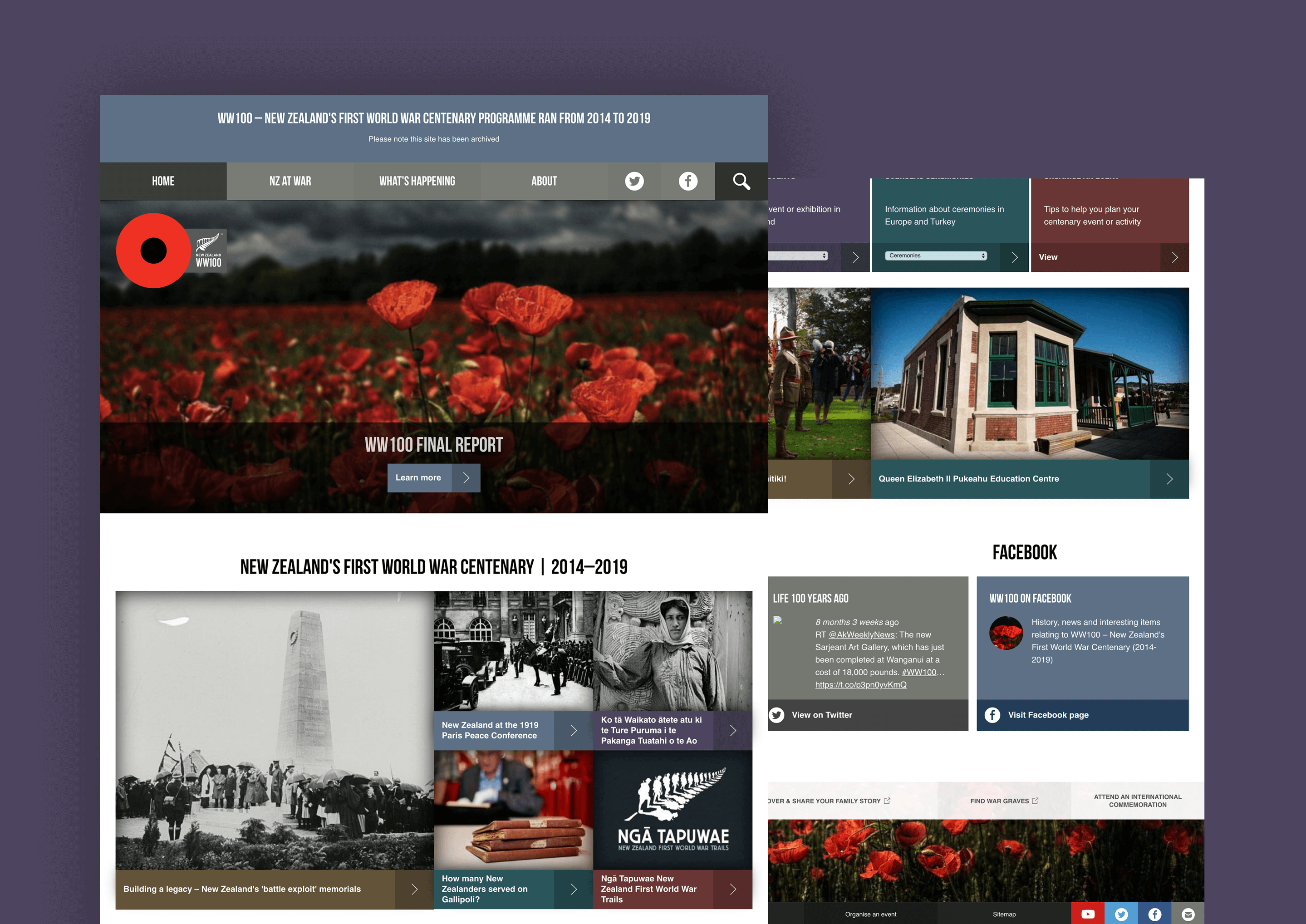Screens showing the results of the website design and development work on the WWII website.