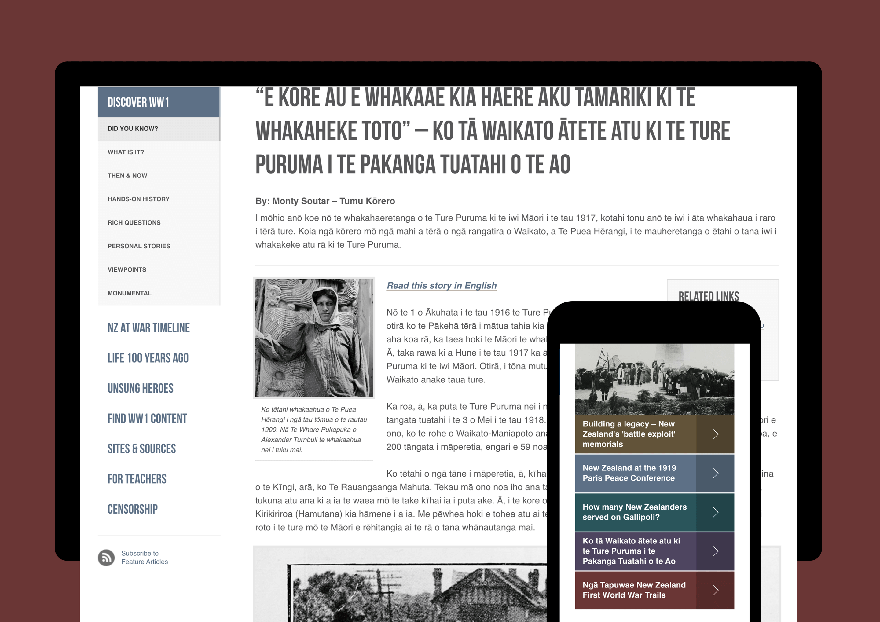 A mockup showing WWII website content on a tablet and a mobile device.