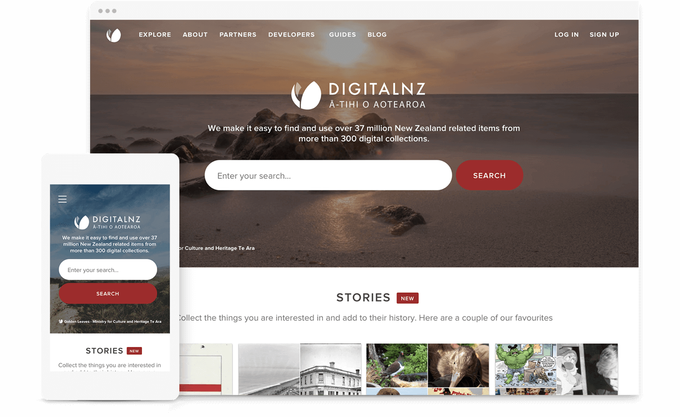 Mockup showing the DigitalNZ website on desktop and mobile.