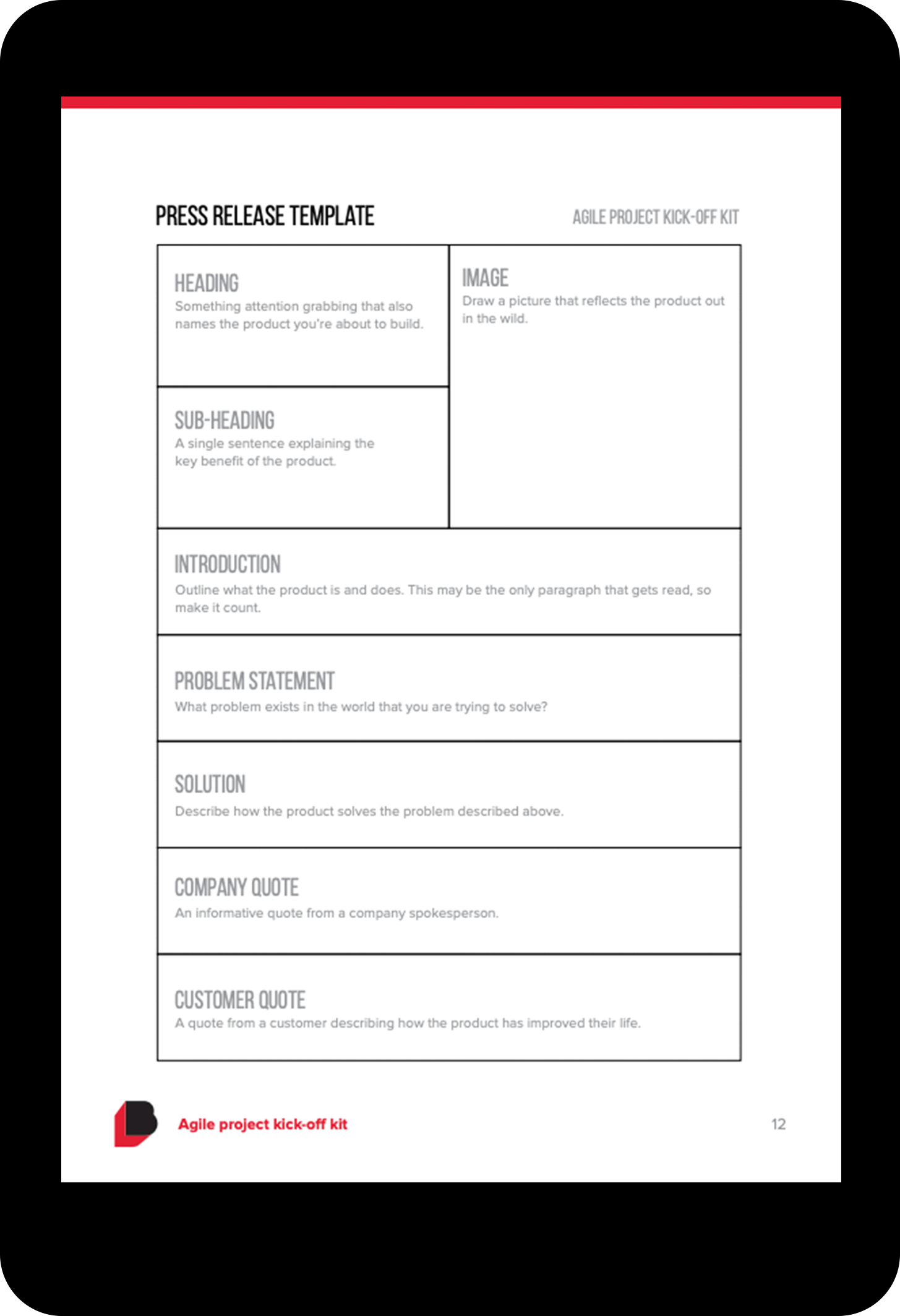 Sample pages from the Agile project kick-off kit shown on a tablet. Click the dots to view each sample page.