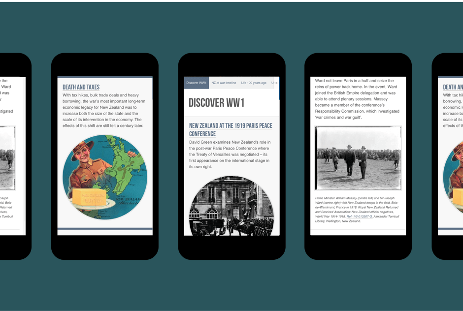 A selection of content from the WW100 website shown on mobile devices