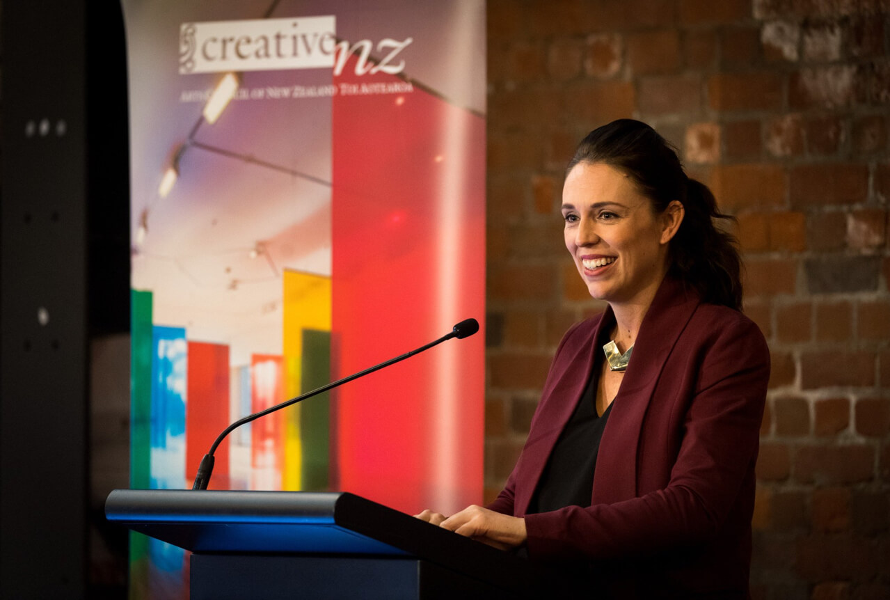 Jacinda Ardern launching the New Zealanders and the Arts survey.
