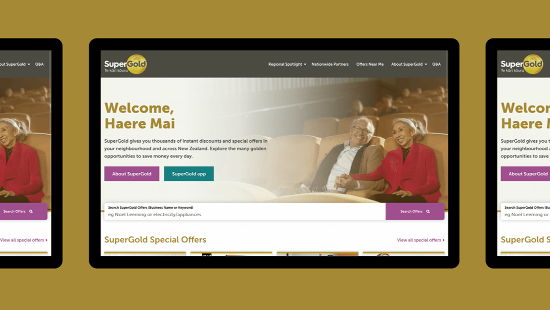 Mockup showing the SuperGold website on a tablet.