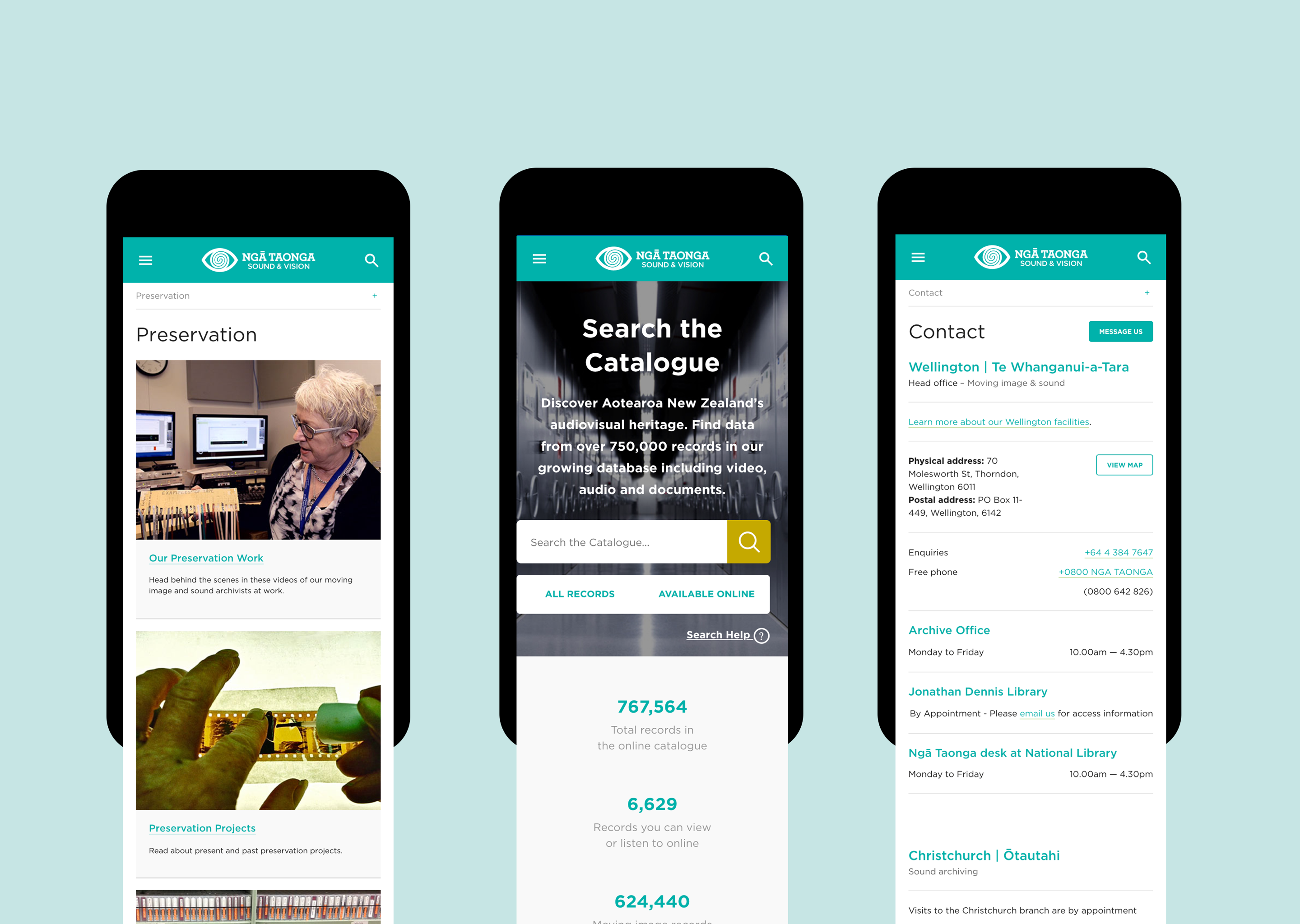 Mobile mockups showing examples of easy-to-use features enabled by the development of the Ngā Taonga web application.