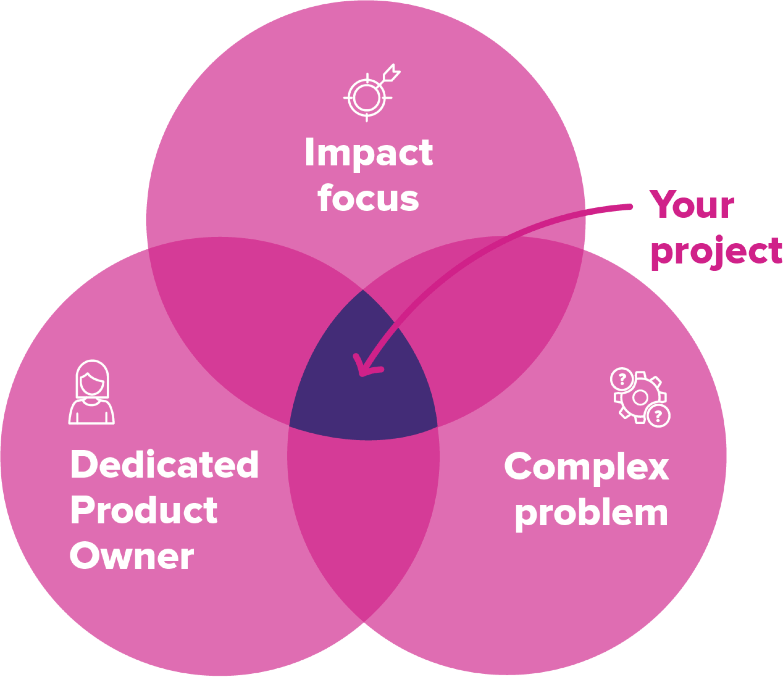 Venn diagram showing that Boost's ideal project has an impact focus, a dedicated product owner and tackles a complex problem.