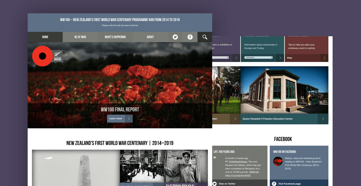 Screens showing the results of the website design and development work on the WW100 website.