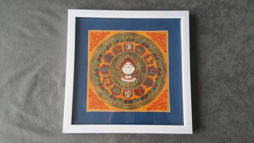 Thangka (Bleu/Orange), encadré