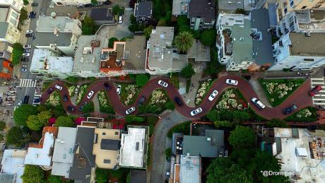 Lombard St San Francisco curves from above drone shot