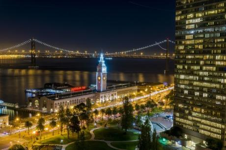Ferry Building and Bay Bridge at Night