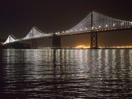 San Francisco Bay Bridge lights
