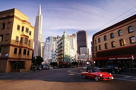 Little Italy San Francisco looking toward Transamerica Pyramid