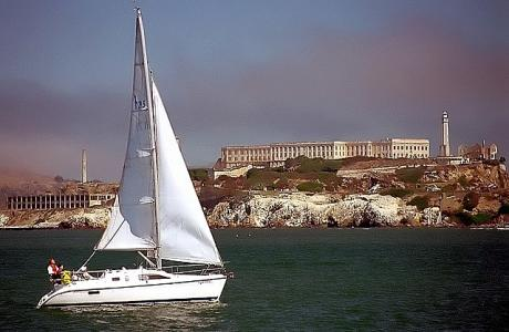 San Francisco Alcatraz Island and Sailboat from Municipal Pier