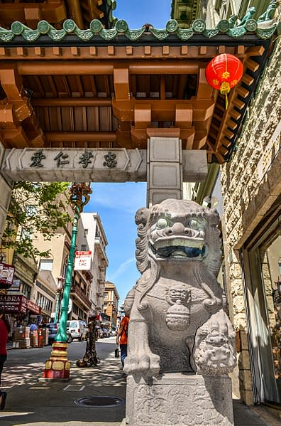 Stone Lion at the San Francisco Chinatown Gate
