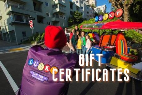 Lucky Tuk Tuk Gift Certificates for City Tours and Private Charters