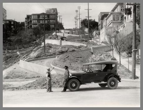 Lombard street historic image during construction