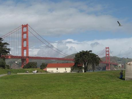 Golden Gate Bridge view from National Park Crissy Field San Francisco CA