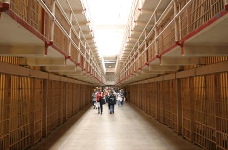 Interior walkway know as Broadway of main cell block on Alcatraz Island