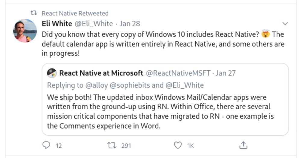 React Native and Microsoft tweet