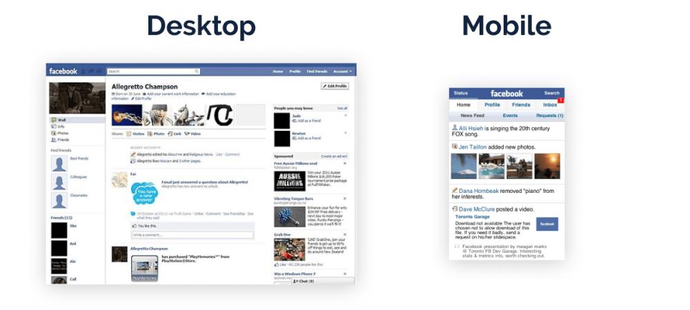 Facebook desktop & mobile