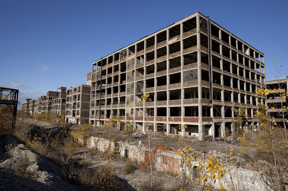 Abandoned Packard plant.  Retrieved from Wikipedia