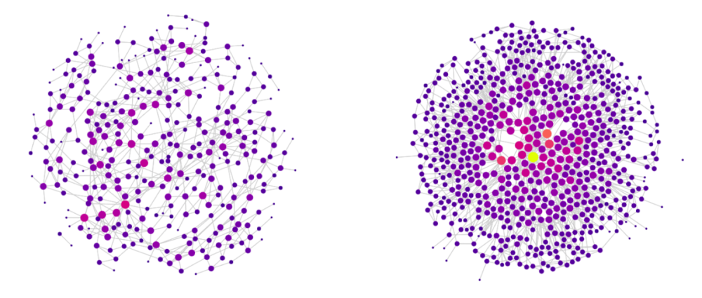 Lviv and Bristol networks in L-space. The size and brightness of a node indicate the number of its connections.