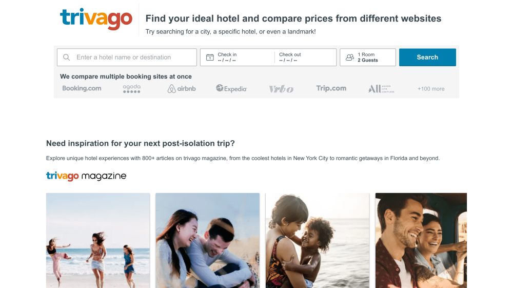 Trivago home page