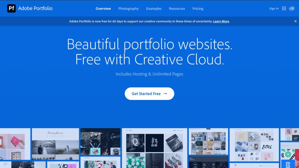 Adobe Portfolio home page