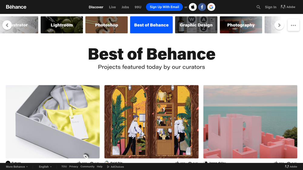 Behance home page