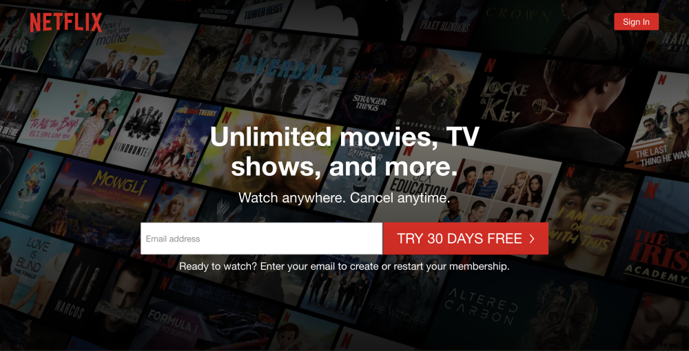 Netflix home page