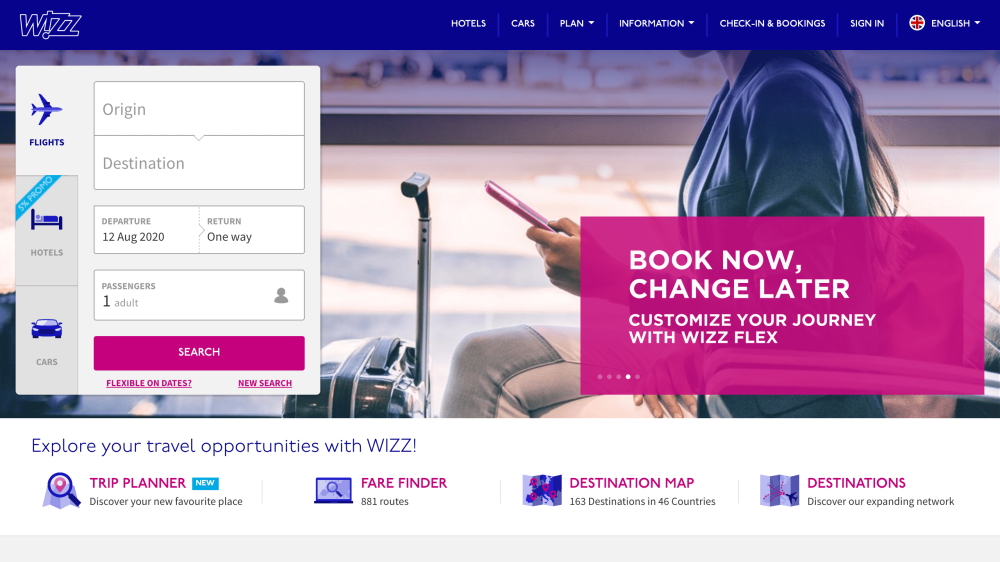WizzAir home page