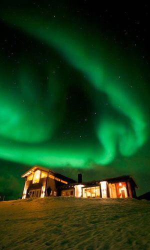 Aurora Borealis above the Lyngen Lodge