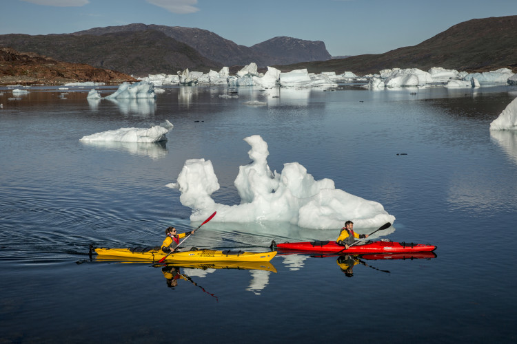 Two kayakers passing icebergs in the fjord Sermilik near Tasiusaq sheep farm in South Greenland, Stacy William Head