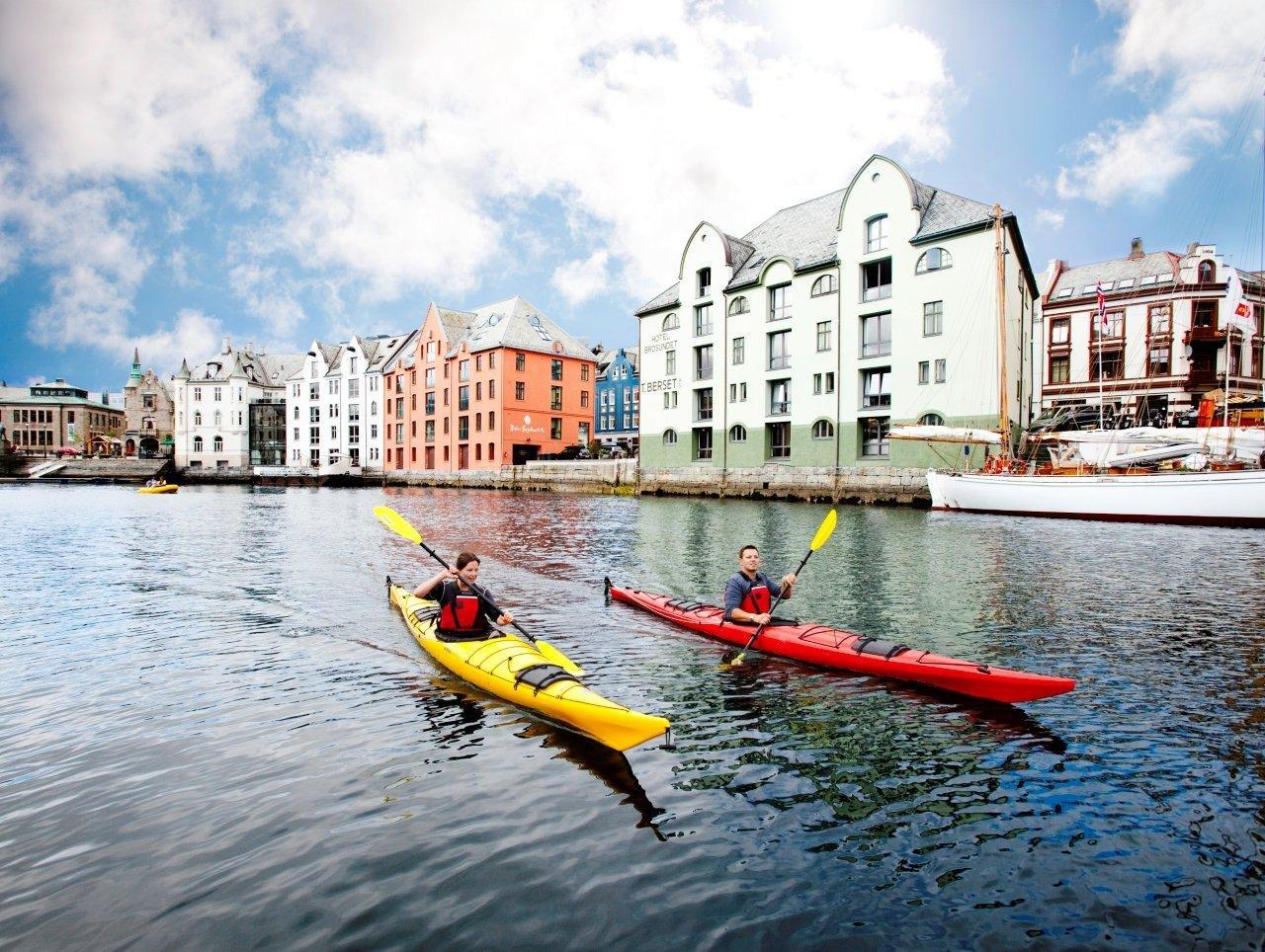 Kayaking in Alesund on Westfjords tour